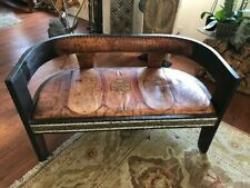 Moroccan Goat Leather Wooden Loveseat
