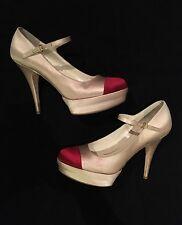 Womens - MIU MIU - Pink Spectator Cap Satin Mary Jane Platform Heel Pumps 8.5 39