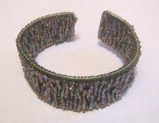 Lovely open backed adjustable cuff style bracelet purple beads