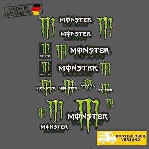 18 x MONSTER Energy Set - GRÜN - Aufkleber Auto Motorrad Sticker Redbull JDM