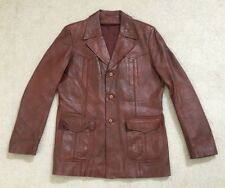 Vintage Bermans Men's Fight Club Leather Jacket with Removable Liner-Size 44L