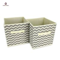2x Non-woven Canvas Storage Folding Box Fabric Cube Cloth Basket Organiser Toys