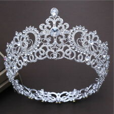 7cm High Luxury Crystal Adult Round Crown Tiara Wedding Party Prom Pageant