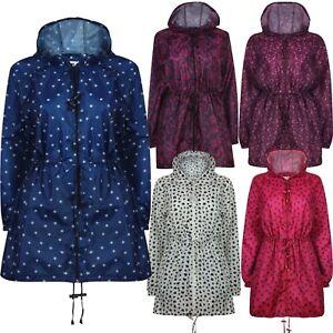 Womens Printed Parka Kagoul Raincoat Water Repellent lightweight Jacket Coat