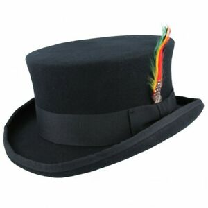 Quality Made 100% Wool Short Top Hat Black Steampunk Topper