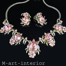 HOLLYCRAFT copr 1954 Brilliant Pink Strass Collier & clips Necklace Diva Glamour