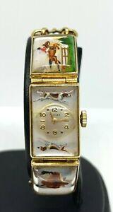 Vintage J. Schultz Equestrian 14K Gold Bracelet Watch