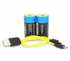 ETINESAN 2PC 4500MWH C SIZE Battery LI-ION rechargeable battery with USB line
