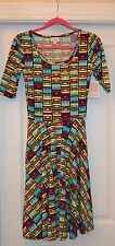 "NEW LULAROE NICOLE Dress CASSETTE TAPE PRINT Size XS LLR 80""s"