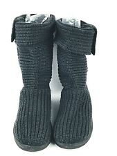 Ugg Knit Sweater Boots Black Classic Cardy Women's Size 6 5649 Sheep Wool Insole