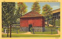 Pittsburgh Pennsylvania PA 1940s Linen Postcard Fort Pitt Block House Built 1764