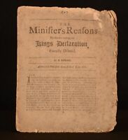 1688 Minister's Reasons For Not Reading the Kings Declaration Revolution Scarce
