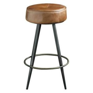Crompton Bar Stool Brown Leather Pewter Frame Brass-Finished Footrest 75 cm