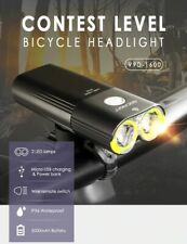 Bike Front Light USB Rechargeable 1600Lumens LED Headlight MTB Handlebar Clip