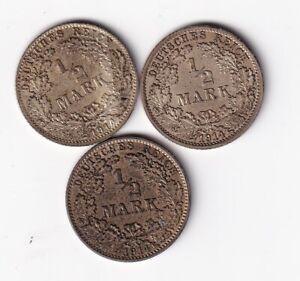 Kaiserreich 1/2 Mark 1914 A, D selten und J komplett nsw-leipzig