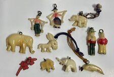 LOT of 11 Celluloid Charms Cracker Jack Elephant Alligator Donkey People Banana