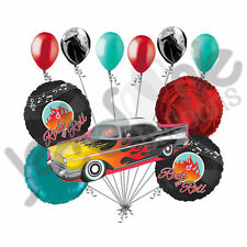 11 pc Muscle Rock-n-Roll Vehicle Happy Birthday Balloon Bouquet Car Flames 50's