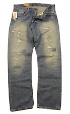 Polo Ralph Lauren Men's Light Blue Distressed Patched Classic Fit Rigid Jeans