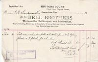 BELL BROTHERS, Pilgrim St, Newcastle 1916 Plates for Shutters Invoice Ref 48652