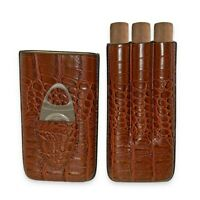 3 Cigar Brown Leather Holder + Stainless Steel Cutter in Gift Box