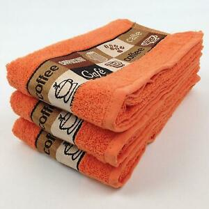 Pack of 3 Cafe Cafe Kitchen Hand Tea Towel in Coral 100% Cotton 50cm x 65cm