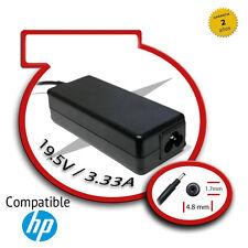 Cargador de portatil compatible HP 19.5V/3.33A 4.8mm x 1.7mm 65W