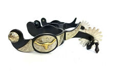 Jingle Bob Spurs - 16 Point Rowl - Western AT Longhorn -Silver-tone - Mens Black