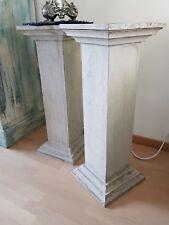 2 Stück Säulen Medusa Mäander Style Dekosäule Blumensäule Holz antikfinish
