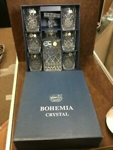 BOHEMIA Czech Republic 24% LEAD CRYSTAL WHISKY SET  DECANTER 6 GLASSES