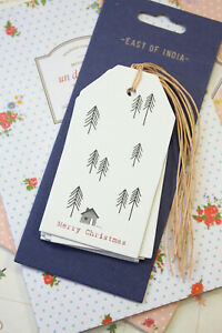 East of India Merry Christmas Fir Trees Luggage Tags 6pc gift tag xmas packaging