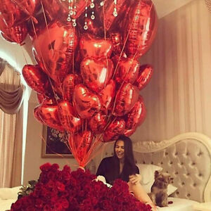 10X Red Love Heart Foil Helium Balloons Wedding Party Decoration Valentine's Day