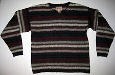 Vintage Woolrich Mens Medium Striped Wool Blend V-Neck Sweater Red Beige Black
