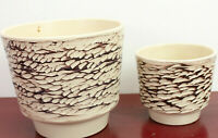 2x 60er Übertopf Planter Keramik Blumentopf  Kratztechnik Mid-Century Vintage