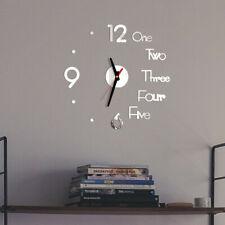 DIY Wall Clock 3D Mirror Surface Sticker Decoration Home Office Decor Clock vnm