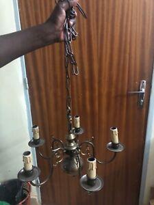 Bronze chandelier, 5 lights, vintage + 2 lights wall light