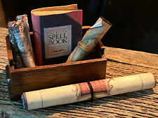 Vintage Miniature Dollhouse Artisan Old Fashioned Wood Crate Maps & Spell Book