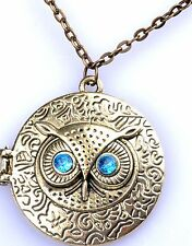 Steampunk Owl Locket, Necklace, Pendant, Bronze.