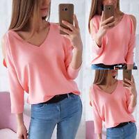 Women V Neck Cold Shoulder Long Sleeve Tops Ladies Summer Casual Blouse T Shirt