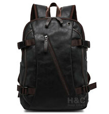 Men's Vintage Backpack School Bag Travel Satchel PU Leather Book Bag Rucksack