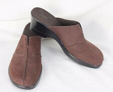 Clarks Brown Suede Clogs size 11 Womens Leather Mules Shoes