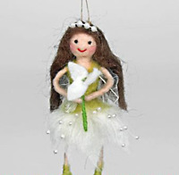 Pin Felt Needle Felted Collectible Winter Snowdrop Pixie Fairy Hanger