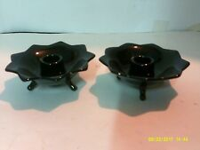 """PAIR OF VINTAGE BLACK GLASS 3 FOOTED CANDLE HOLDERS 4 3/4"""" ACROSS"""