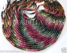 """7"""" strand AAA WATERMELON TOURMALINE faceted gem stone rondelle beads 4mm multi"""