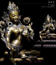 Tibetan Buddhism green Tara sitatara buddha statue gilt-bronze deity Nepal