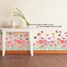 Removable Pretty Wild Flower & Butterfly Floral Art Decal Window Wall Stickers