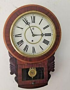 Large Waterbury Round Top Wall Regulator Clock--With Repair Label 1900