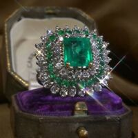 925 Silver Woman Natural Gemstone Emerald Gift Ring Wedding Jewelry Size 6-10