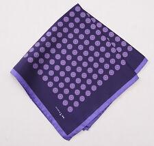 New $215 KITON NAPOLI Plum-Violet Floral Medallion Print Silk Pocket Square