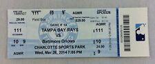 MLB 2014 03/26 Tampa Bay Rays vs. Baltimore Orioles Spring Training Ticket