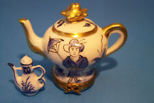 Teapot Oriental, With Teapot, Authentic French Limoges Box ( New )